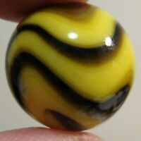 Vintage Marbles 1 Akro Agate Corkscrew HTF Tight Bumble Bee .710 Wonderful Mib
