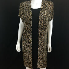 "TEDDI Womens Sz 16W Bust 52"" Leopard Animal Print Slinky Dress Open Cardigan N6"