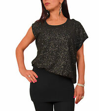 LADIES GOLD SPECKLED ASYMMETRIC BLOUSE TUNIC TOP WRAP HIP BAND BLACK UK 8 10 12