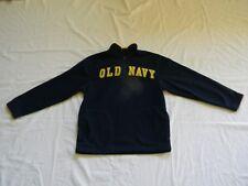 Boys Old Navy Fleece Pullover Sweater Size M Dark Blue Yellow Trim