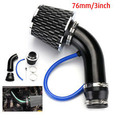 "76mm 3"" Universal Car Cold Air Intake Filter + Alumimum Induction Kit Pipe Hose"