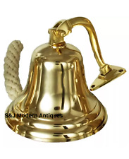 Antique Brass Wall Bell Vintage Ship's School Pub Last Orders Dinner Door 8 inch
