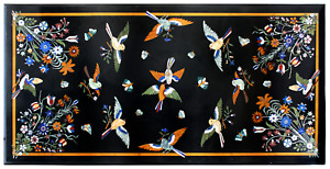 30 x 60 Inches Black Office Meeting Table Top Marble Dining Table with Birds Art