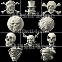 10 3D STL Models Skulls Pirat for CNC Router Carving Machine Artcam aspire Cut3D