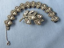 Vintage Weiss Pin Brooch and Bracelet Marquise Rhinestones