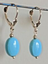 30 MM Tall 14kt Earrings Sleeping Beauty Turquoise Drops w/ Gold Beads SWEET!