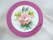 (1)+ Vintage Hand Painted Plate Rose Pattern Pink Border
