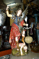 MASTERPIECE ARCHANGEL ST MICHAEL HAND CARVED WOODEN SPANISH COLONIAL PAN DE ORO