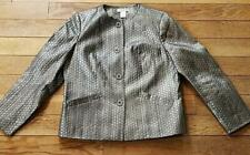 Laura Ashley Petite Silver Metallic Button Down Top Blazer Size Medium