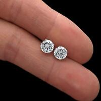 3CT Round Cut Solitaire Moissanite Stud Earrings 14K Solid White Gold Finish