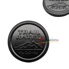 (1) Black Finish Metal Trail Rated 4x4 Round Emblem Badge Jeep Wrangler, etc