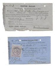 SHEPTON MALLET 2 x Town rates Receipts 1861 & 1864