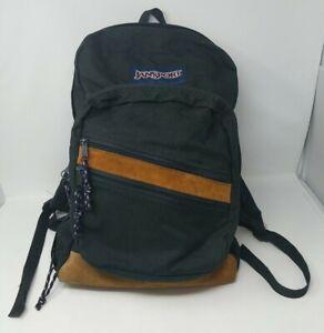 JanSport Backpack Day Pack Black Leather Suede Trim Bottom VTG USA 80s 90s 1990s