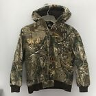 CARHARTT RealTree Camo Work Duck Jacket - Youth Boys Medium 10/12 Hooded Canvas