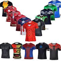 Men's Superhero Compression Base Layer Gym Sport Top Short Sleeve T-shirt Blouse