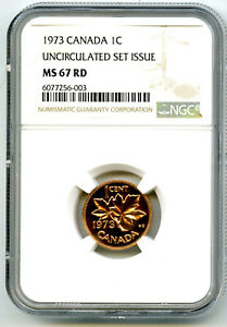 1973 CANADA CENT NGC MS67 RD COPPER UNCIRCULATED SET ISSUE COIN RARE PENNY