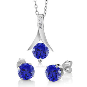 """Blue Sapphire Solitaire Earrings Pendant 18"""" Jewelry Set 14k White Gold Over"""