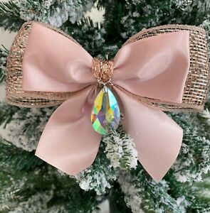 """large 6"""" Christmas tree tie on bow.  Rose gold with crystal drop centre"""