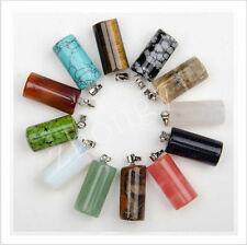 Lot 30pcs MIX Natural Stone Cylindrical shape Gemstone Necklace Pendant