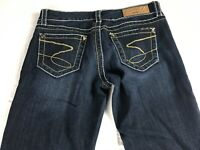 Seven 7 Jeans Womens 27 Dark Flare Bling Stones Thick Stitch 31 x 35 Actual