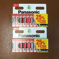 20 x AA Genuine PANASONIC Zinc Carbon Batteries - New R6 1.5V Expiry 2022