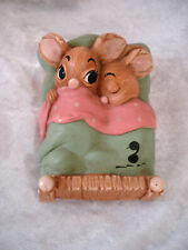 Rare! Pendelfin Figurine Twins, Rabbits in Bed, Green/Pink Blanket & Sheet 1962