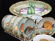 (10) Fabulous Haviland France FISH PLATES & PLATTER - Mint!