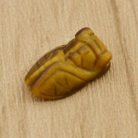 Natural Tiger's Eye Stone Carved Cicada Healing Gemstone Pendant for Necklace