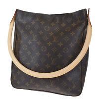 Auth LOUIS VUITTON Looping GM Shoulder Bag Monogram Leather Brown M51145 84MG420
