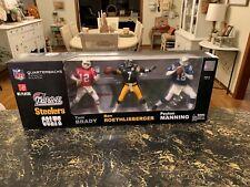 misb NFL ELITE QB CLUB 3 PACK MCFARLANE (BRADY (RETRO JERSEY) BIG BEN & MANNING