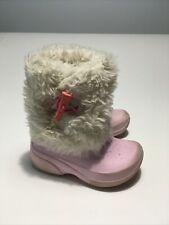 Crocs Girls Size 10-11 Pink Faux Fur Lined Snow Rain Winter Boots