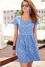 Aniston by Heine leichtes Jeanskleid Kleid Tupfen Gr. 42 Neu