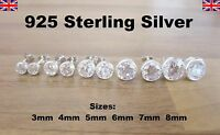 925 Sterling Silver - Clear Crystal Bezel Round CZ Cubic Zirconia Stud Earrings