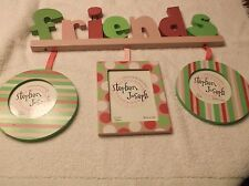"""FRIENDS HANGING PICTURE FRAMES 3X5  & 2 3.5"""" ROUND POLKA DOTS, STRIPES PHOTOS"""