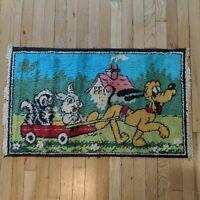 1'10 x 3'1 VINTAGE Pluto Rug Pluto Pulls Thumper and Flower in Wagon Walt Disney