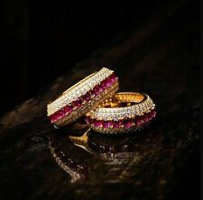 925 Sterling Silver 14K Yellow Gold FN 1.50 CT Round Ruby & CZ Wedding Band Ring