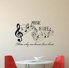 Music Is Life Wall Decal Note Quote Vinyl Sticker Decor Treble Clef Poster 399