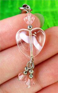 14x14x6mm Pink Millefiori Glass Love Heart Phone Accessories Chain AP15079