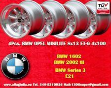 4 pcs. Cerchi BMW 1600 2002 Minilite 8x13 ET-6 4x100 Wheels Felgen Jantes