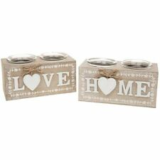 SHABBY CHIC PROVENCE TWO TEA LIGHT CANDLE HOLDER GIFT ORNAMENT HOME NEW