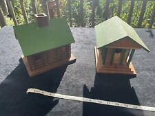 2 Hand Made Bird Houses Unique Artist One Of A Kind Greek Temple Log Cabin House