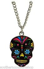 Day of the Dead Dia De Los Muertos Black Epoxy Necklace With Sugar Skull