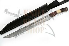 Damascus steel blade FULL TANG SHORT SWORD BONE & ROSE WOOD HANDLE