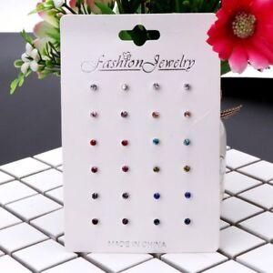 12 Pairs Rainbow Cubic Zircon Stud Earrings Set Crystal Birthstone  Kids Jewelry