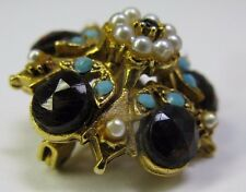 Vintage Gold, Mini Pearl, Garnet & Turquoise Rhinestone Brooch Signed Florenza