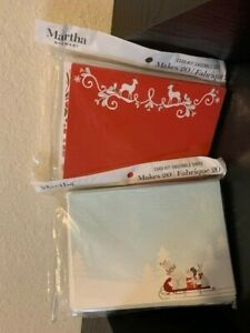 Lot of 2 Martha Stewart Christmas Card Kit 20 Cards Lined Envelopes & Seals NEW