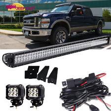 "52"" Led Work Light Bar +(2)Cube Pods+Wiring Kit Roof Bumper Fog Driving Ford"