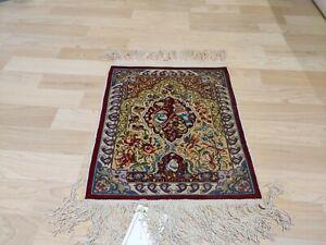 Feine türkische Hereke Seide 12x 12 Knoten Wandteppich Seidenteppich (38x32cm)