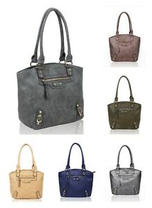 New Women's Stylish Two Compartments Buckle Detail Shoulder Bag With Zip Pocket