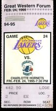 Ticket Basketball Los Angeles Lakers 1995 2/24 Charlotte Hornets